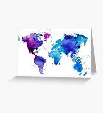 Aquarell Karte der Welt Grußkarte