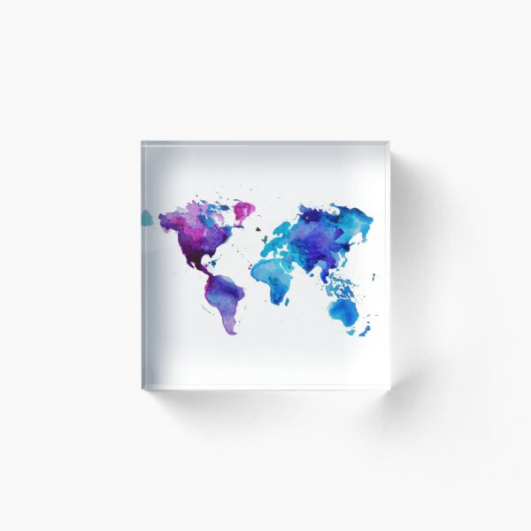 Watercolor Map of the World Acrylic Block