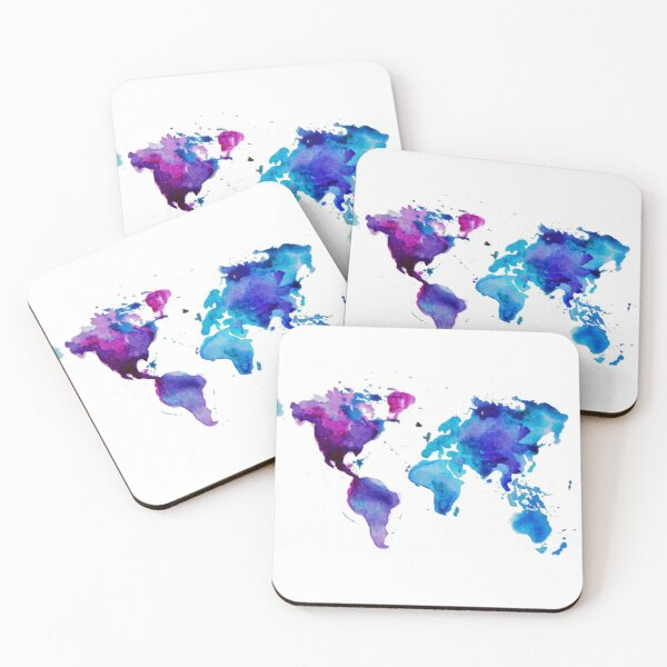 Watercolor Map of the World Coasters (Set of 4)
