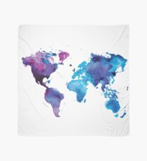 Watercolor Map of the World Scarf