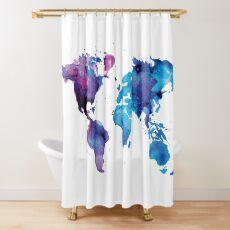 Cortina de ducha Mapa de acuarela del mundo