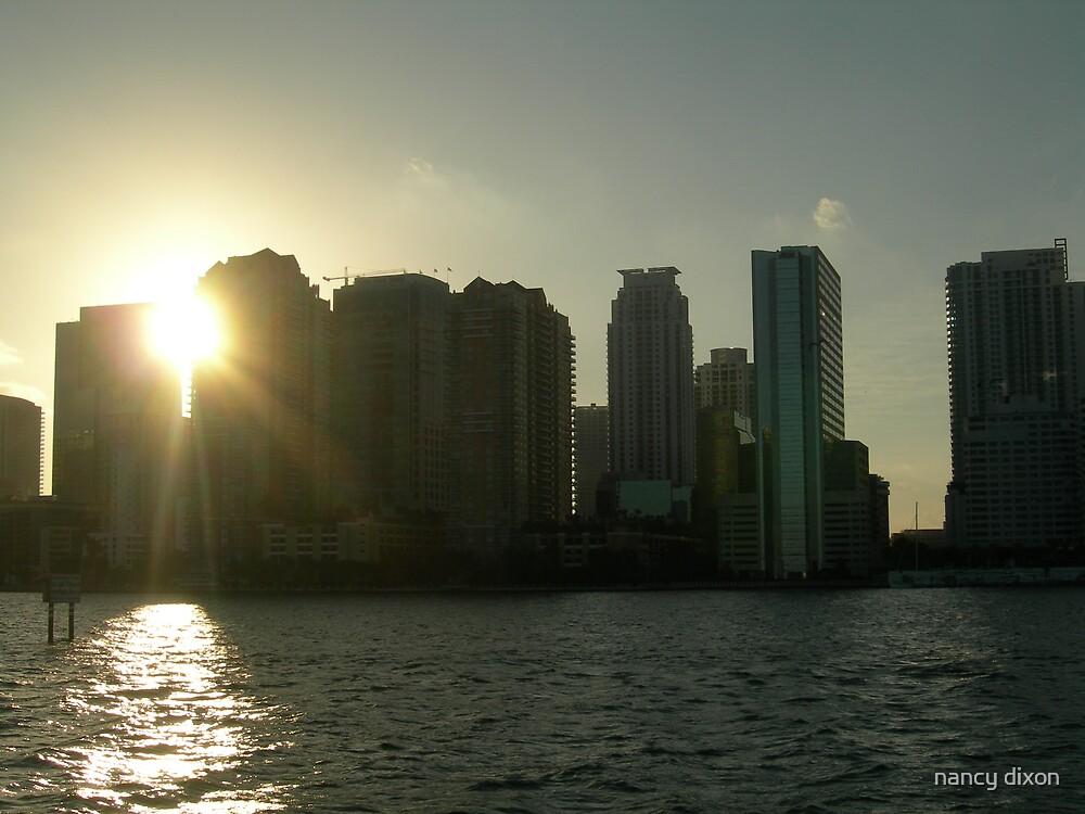 Miami skyline at sunset by nancy dixon