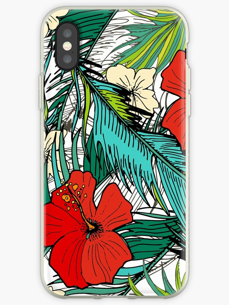 Stylish Seamless Tropical Background Palm Leaves And Exotic Flowers Iphone Case By Trishamcmillan