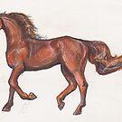 Sorrel Chestnut Dun Horse by Stephanie Small