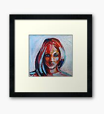 Acrylic painting portrait of beautiful girl in red, blue and yellow colors Framed Print
