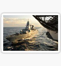 German Sachsen-class frigate Hessen conducts an underway replenishment. Sticker