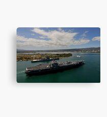 USS Carl Vinson passes the USS Missouri Memorial in Pearl Harbor. Canvas Print
