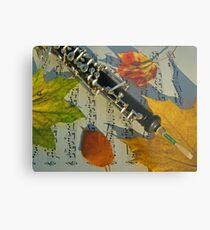 Sunlit Oboe and Sheet Music in Autumn Metal Print