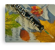 Sunlit Oboe and Sheet Music in Autumn Canvas Print
