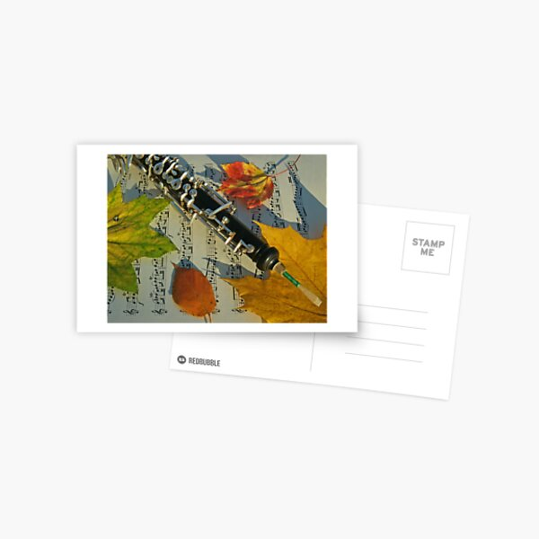 Sunlit Oboe and Sheet Music in Autumn Postcard
