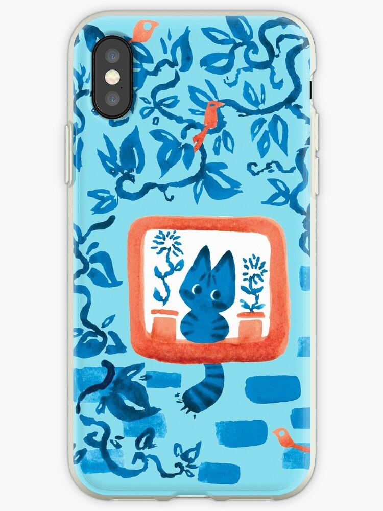Window Cat in Blue by Paigekotalik