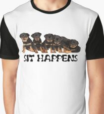 Sit Happens For Six Rottweiler Puppies Graphic T-Shirt