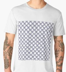 Girly Modern Blue White Retro Scallop Pattern Men's Premium T-Shirt