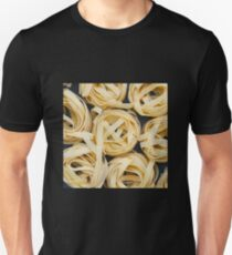 Top view on uncooked nests of tagliatelle pasta T-Shirt