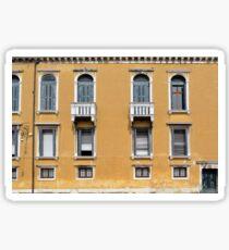 Yellow Italian building facade with window decoration  Sticker