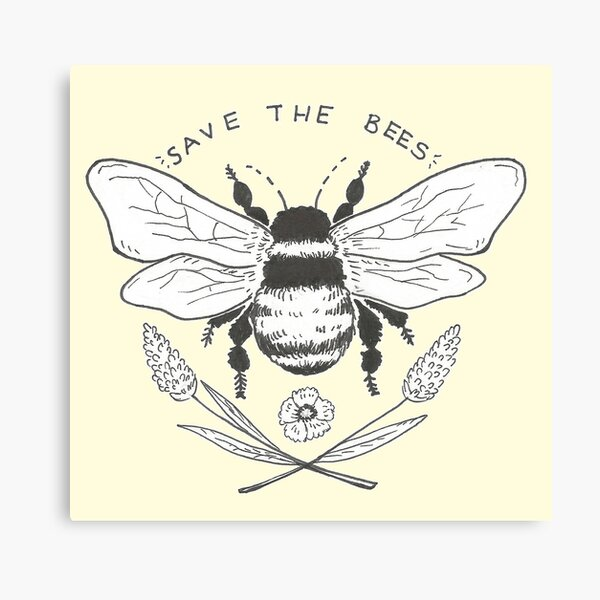 save the bees- yellow Canvas Print