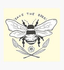 save the bees- yellow Photographic Print