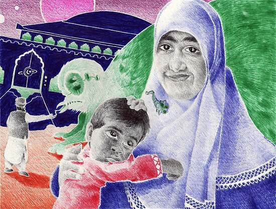 Bic Ball Point Pen Drawing: Compassion on a Pakistani Galactic Scale by Kenny Irwin