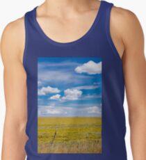 Yellow fields under blue cloudy sky Tank Top