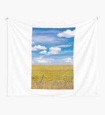 Yellow fields under blue cloudy sky Wall Tapestry