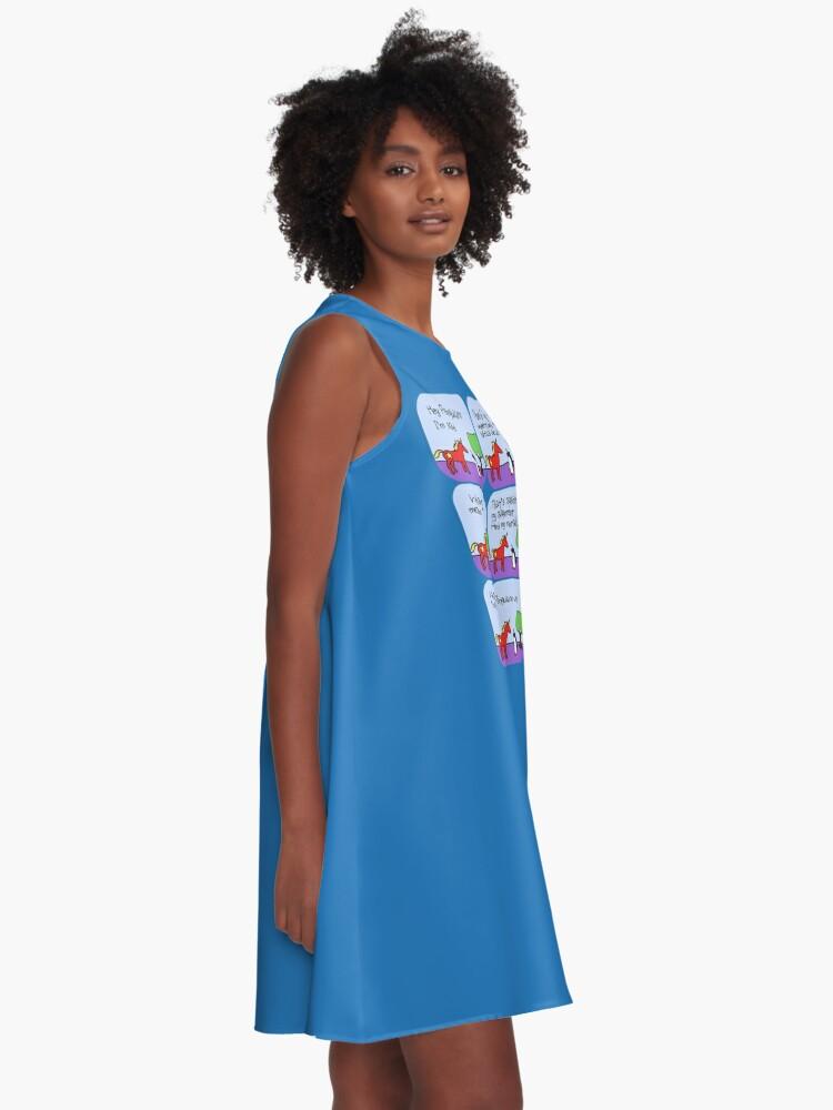 Alternative Ansicht von Communicorns Ausrichtung (Gehörnte Kriegerfreunde) A-Linien Kleid