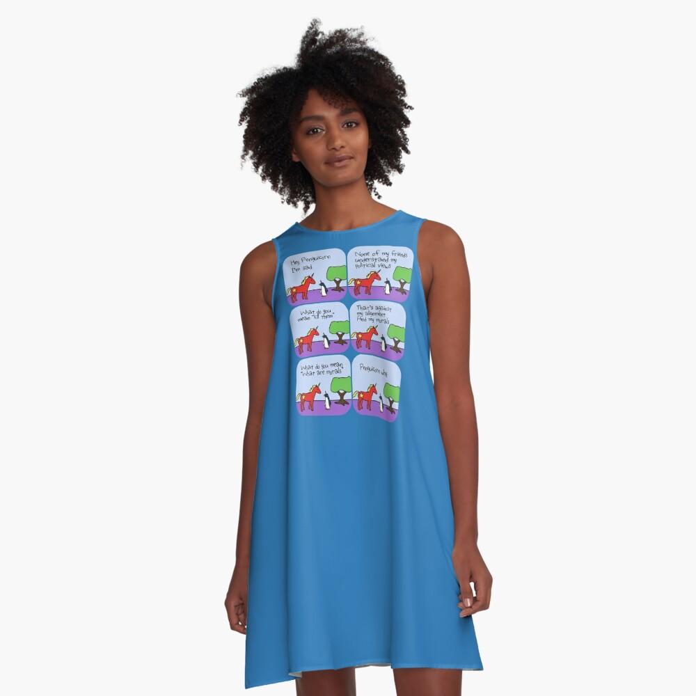 Communicorns Ausrichtung (Gehörnte Kriegerfreunde) A-Linien Kleid