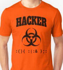 Computer Hacker T-Shirt - Black Biohazard Sign & Bash Fork Bomb T-Shirt