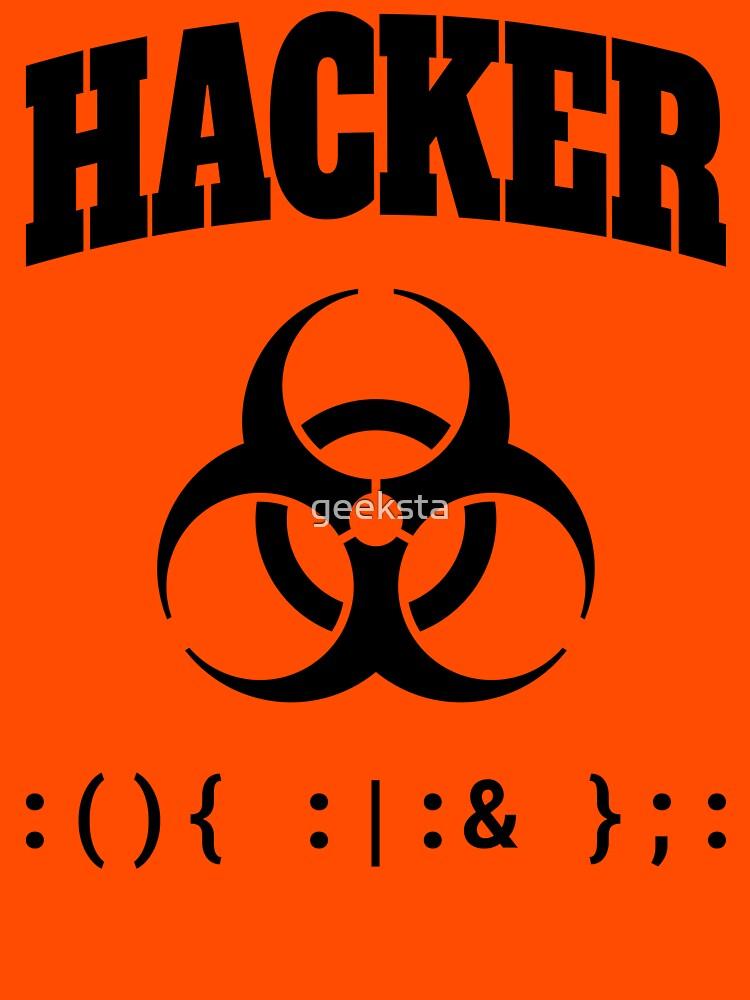 Computer Hacker T-Shirt - Black Biohazard Sign & Bash Fork Bomb by geeksta