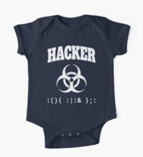 Computer Hacker T-Shirt - White Biohazard Sign & Bash Fork Bomb Kids Clothes