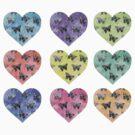 Rainbow Heart Butterfly's by SpottiClogg