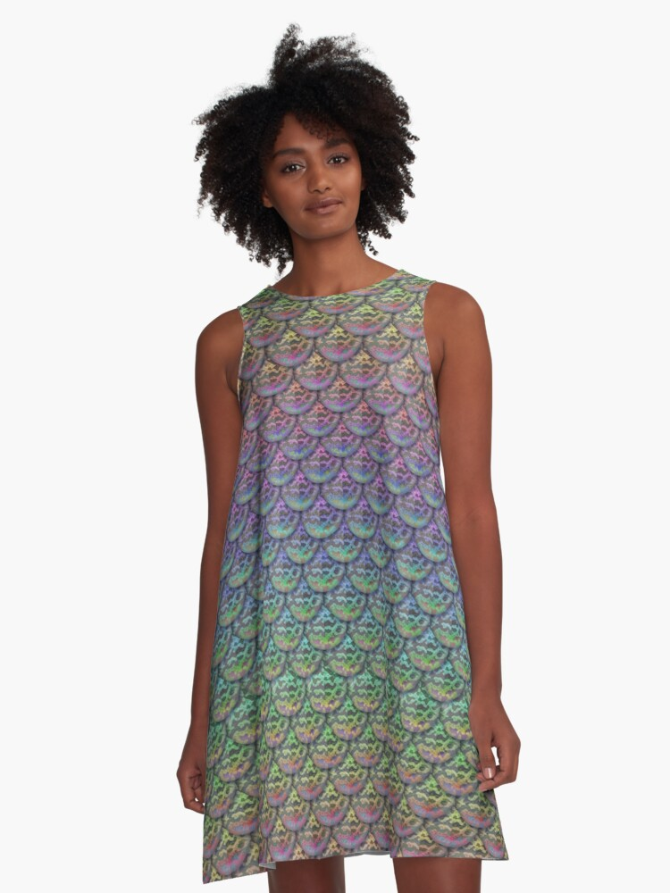 Rainbow Mermaid Scales A-Line Dress Front