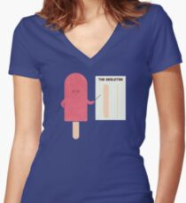 Anatomie Tailliertes T-Shirt mit V-Ausschnitt