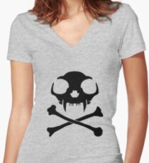 Necro Cat Women's Fitted V-Neck T-Shirt