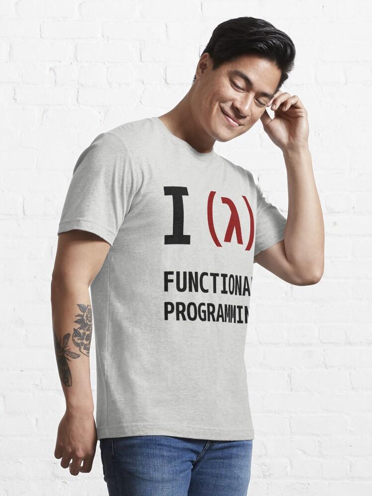 Alternate view of I Love Functional Programming - Black/Maroon Design Essential T-Shirt