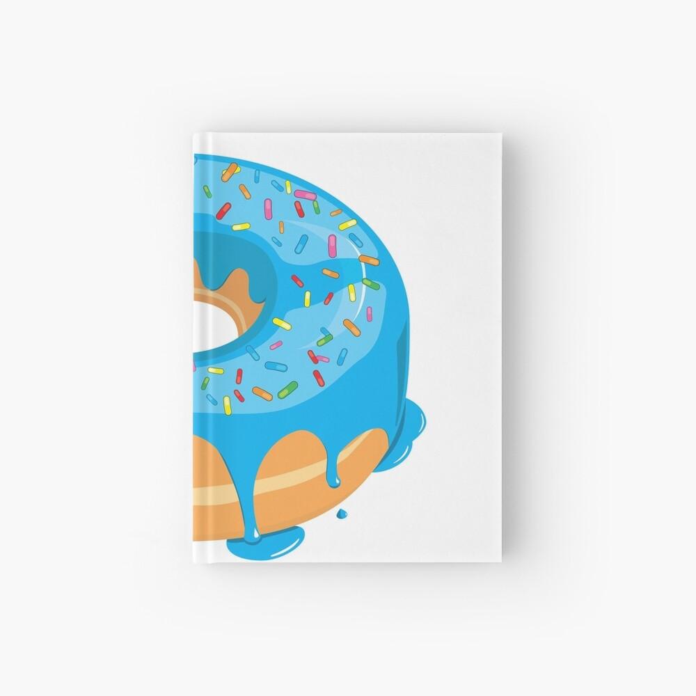 Creamy Blue Glazed Donut with Sprinkles Hardcover Journal