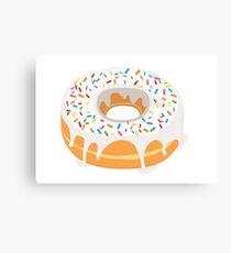 Creamy White Glazed Donut with Sprinkles Canvas Print