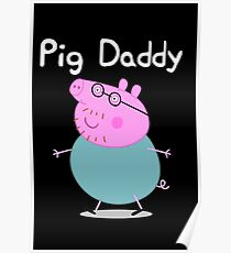Pig Daddy cartoon kids joke humor funny tv show movie pink  Poster