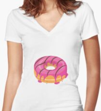Creamy Pink Chocolate glazed Donut Women's Fitted V-Neck T-Shirt