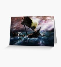 Odysseus at sea Greeting Card