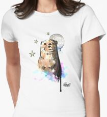 Watercolour Otter Illustration. Otter in the Starry Night Sky by CoconuTacha. Women's Fitted T-Shirt