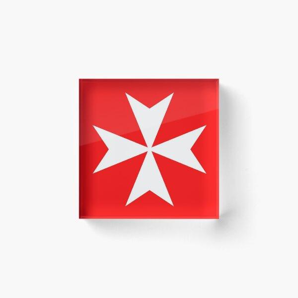 MALTA, Maltese, Amalfi Cross, Maltese cross, Knights Hospitaller, WHITE on RED. Acrylic Block