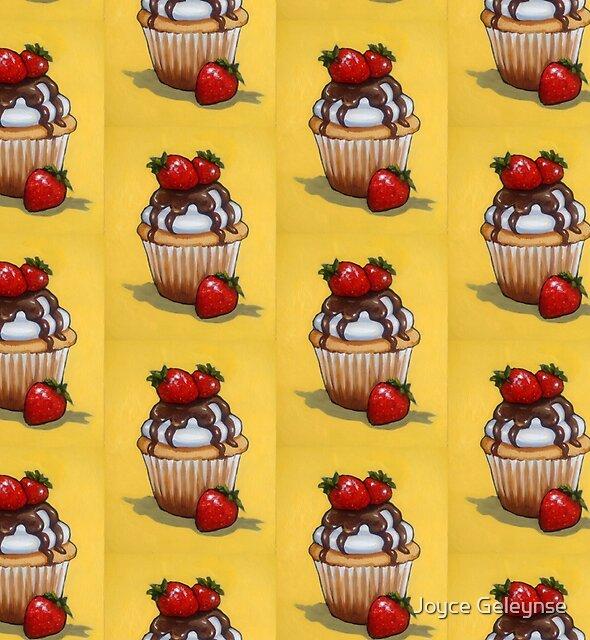 Cupcake, Original Art, Strawberries, Chocolate, Food by Joyce Geleynse