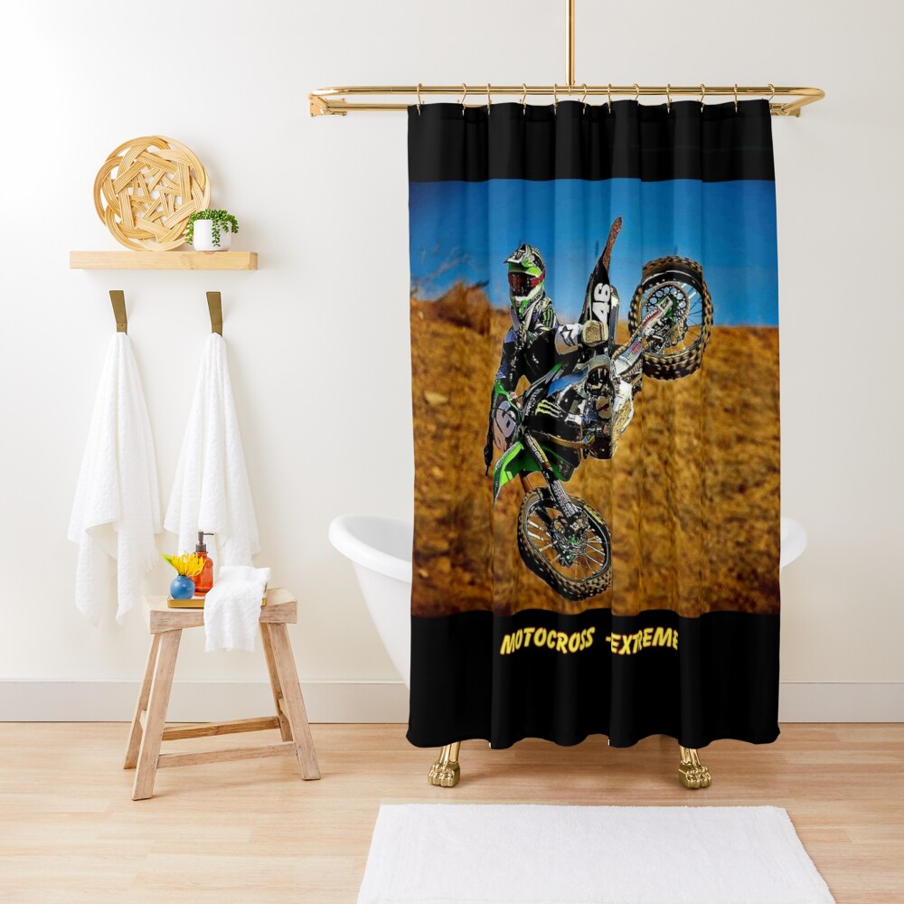 MOTOCROSS EXTREME: Motorcycle Racing Advertising Print Shower Curtain