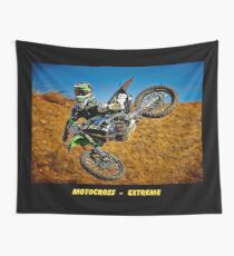 MOTOCROSS EXTREME: Motorcycle Racing Advertising Print Wall Tapestry