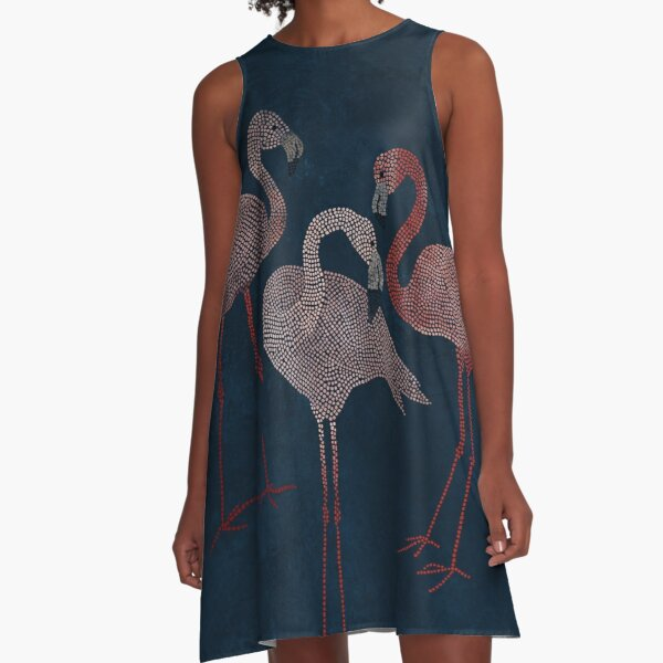 Three pink flamingos on navy blue A-Line Dress