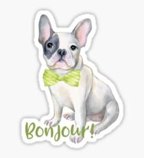 Bonjour French Bulldog with a Bow Tie   Sticker