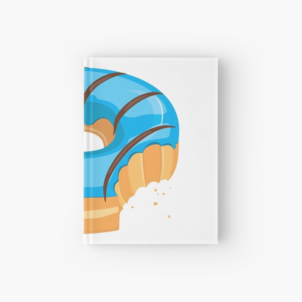 Blue Chocolate Glazed Donut with Bite Hardcover Journal