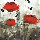 Poppies (green background, card only) by Tanja Udelhofen