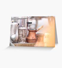 Coffee preparation Vintage concept. Greeting Card