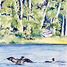 Loons on Lake Clara by Carolyn Bishop